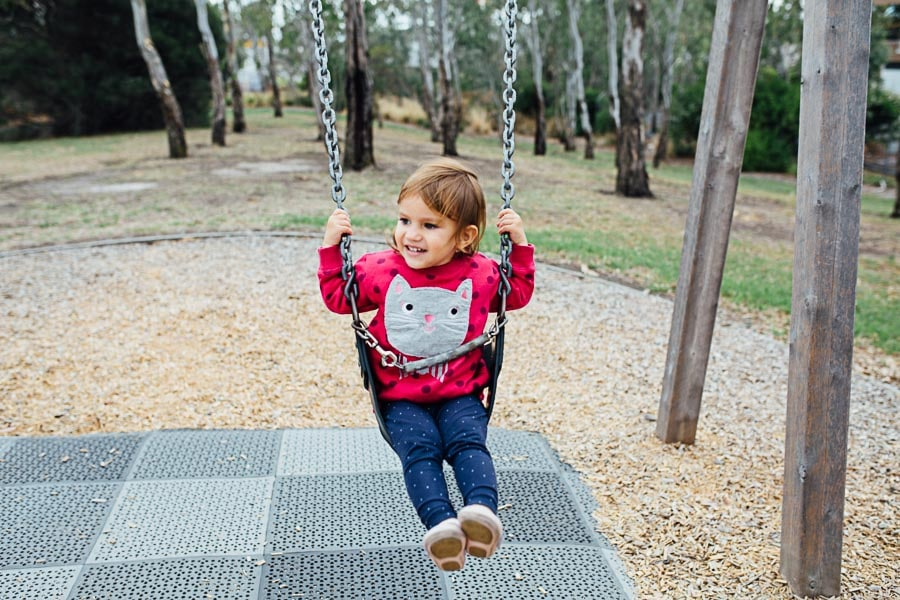 family photography melbourne kids park swing