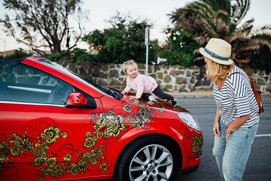 Family Photography Melbourne red car custom design artist Taisiia Danchenko
