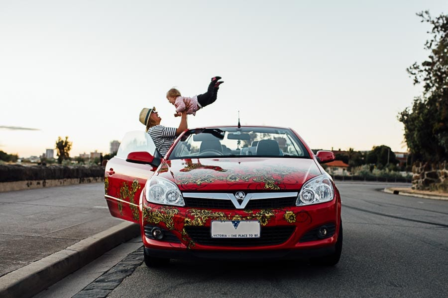 Taisiia + Sasha + Red Car | Family Photography Melbourne