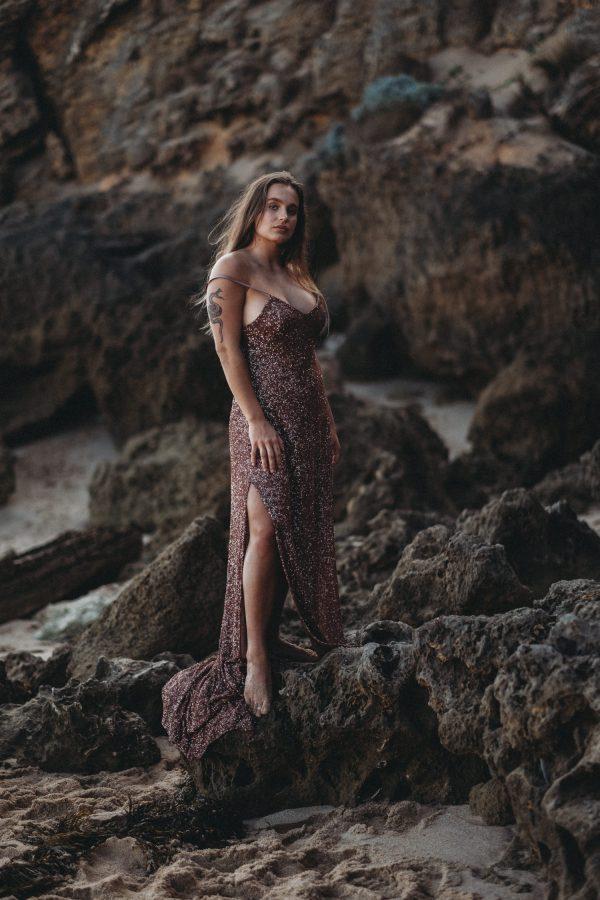 women portraits melbourne portrait photographer melbourne beach fashion shoot beach glamour sequins dress branding photographer melbourne photos for your business melbourne Livrie couture